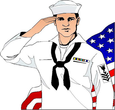 Petty Oficer First Class sailor anf the flag