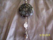 Extra Large Dragonskin coin w rock crystal n jasper