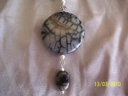 Extra Large Dragonskin coin (internal quartz inclusion) n black kyanite