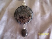 Extra Large Dragonskin coin w black kyanite (this one is mine)