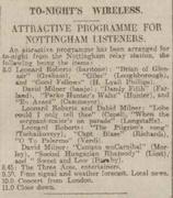 May 12 1926, The Nottingham Evening Post. David Milner classic banjo recital on the wireless