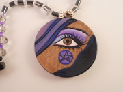 Hand Painted Wooden Disk Necklace