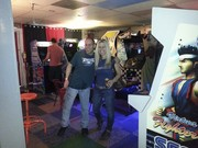 Our friend Jeff & I at the Pinball Museum in Asheville