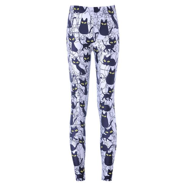 Buy Black Cats Print Leggings with Discounted Price