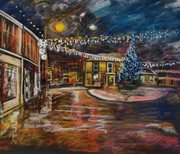Christmas in Thornton Square,Brighouse Pastel on Glasspaper