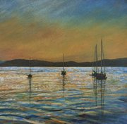 BOATS AT SUNSET, SKYE  ACRYLIC ON CANVAS  300mm x 300mm