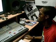 Off in the studio