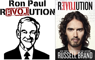 Russell Brand Trademarks (steals) 'r3VOLution' Logo Made Famous by Ron Paul Campaign
