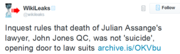 Inquest rules that death of Julian Assange's lawyer, John Jones QC, was not 'suicide', opening door to law suits