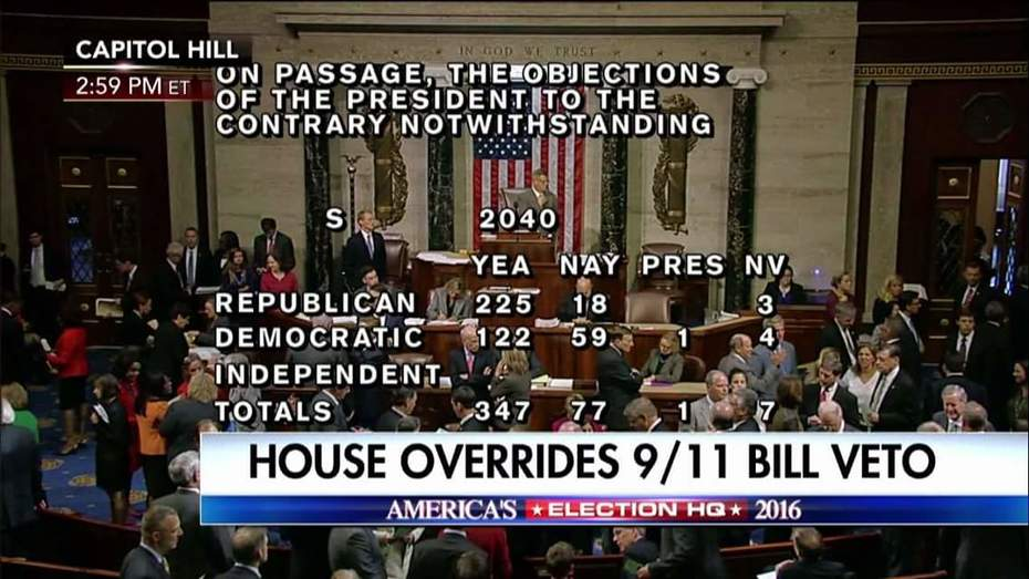 House and Senate Successfully Override President Obama's Veto Over 9/11 Bill