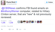 CBS News confirms FBI found emails on Anthony Weiner computer, related to Hillary Clinton server, that are NEW and not previously reviewed
