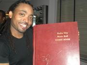 Machel in Radio City -Machel holding closed book
