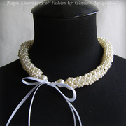 Amorous Duchess Bridal Beadwoven Pearl Ivory Necklace