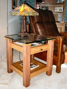 Oak End Table with Glass Top