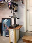 New drill press stand. The peg board will support custom bit holders, etc.