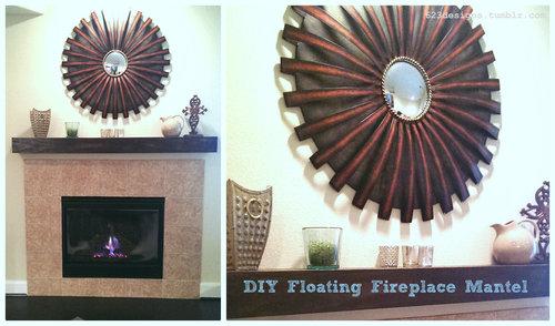 DIY Floating Fireplace Mantel