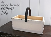 wood framed canvas tote