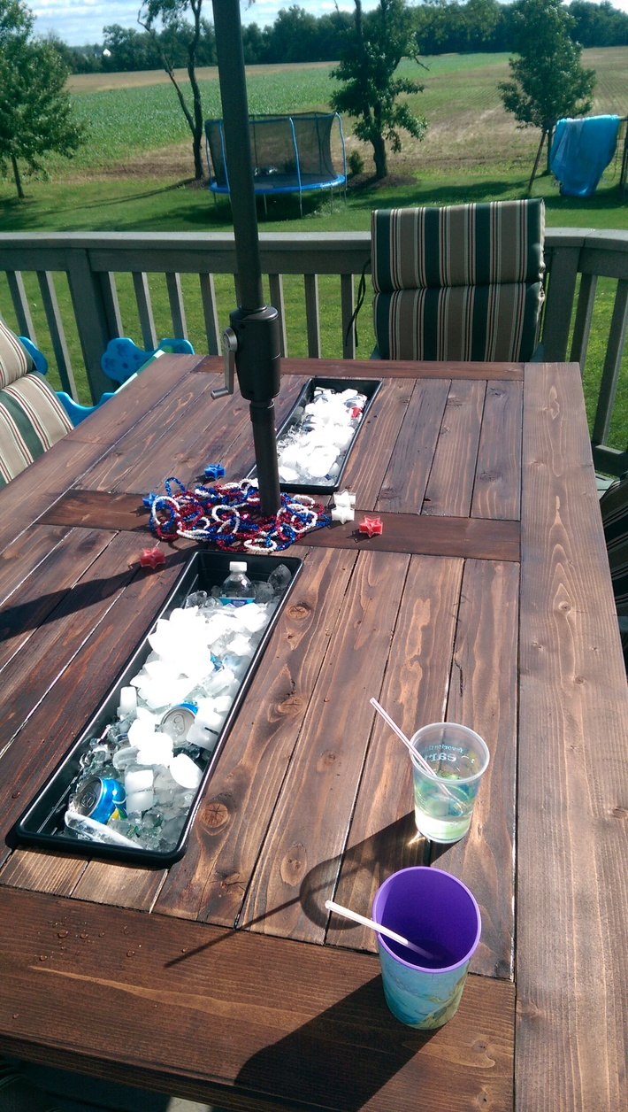 Outdoor Table with Built-In Coolers