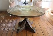 x base circular dining table