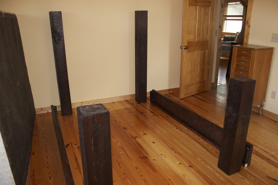 Dumpster Barn Siding Wood- getting ready to set the Kreg Jigged head and footboards