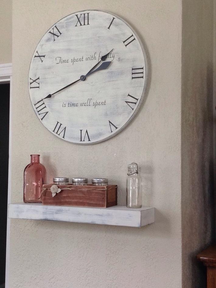 Floating shelf under my DIY clock