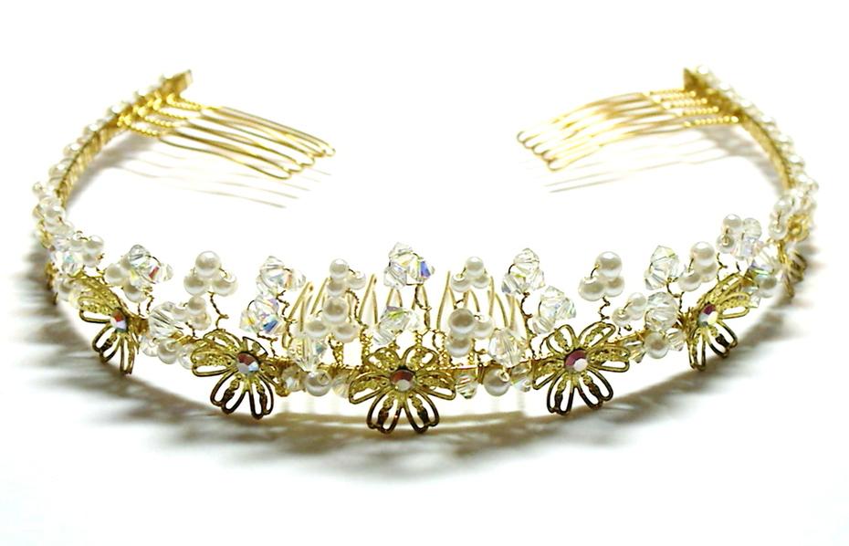 Tanzey Golden Floral Tiara