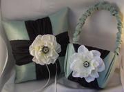 Silk Flower Ring Bearer Pillow and Flower Girl Basket