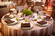 pink tulips and apples table