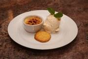 Mini Crema Catalana, Marmalade Ice Cream and a Polenta Biscuit