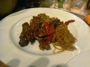 Crispy fried barley fed wild mallard with tamarind noodles