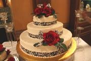 Rose Topped Wedding Cake