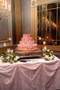 Pink and Black Tier Wedding Cake