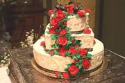 Cascading Roses with Greenery Wedding Cake