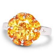 9MM Round And 4x2MM Marquise Citrine Silver Ring