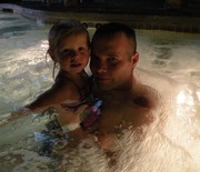 My baby and I in the hot tub