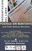 afiche presentqación poems sin remitnte josé pablo