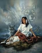 Native Girl & Wolves