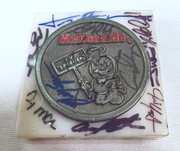 McDonald's Coin (I'm Speedie) Marble Paper Weight, Signed By 22 Drivers Sponsored By McDonald's. Including The Late Justin Wilson, all with pictures of them signing, (Picture Proof Autographes)