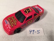 #49-5, NASCAR, Mike McLaughlin, Initial, 1991, Racing Champions, #34, Fiddle Faddle, 1/64 scale, die cast,