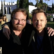 """Aaron Paul who played """"Jesse Pinkman"""" in """"Breaking Bad"""" with Jim Hallowes"""