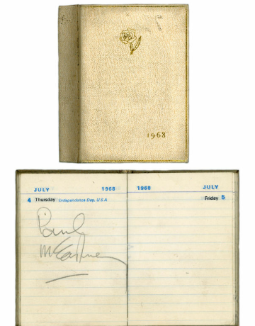 Paul McCartney signed 1968 Collins pocket diary