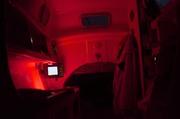 Tiki38 cabin at night