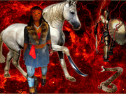 Fire and horse w sword