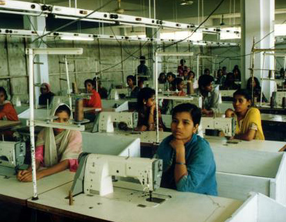 Garment workers in a UK factory