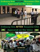 U.S. Embassy line BEFORE Tessanne Chin appeared on THE VOICE and AFTER she appeared on THE VOICE!