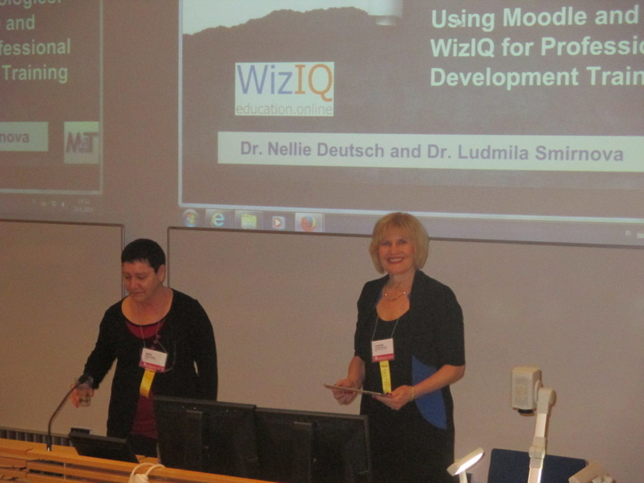 Nellie and I presenting a Paper