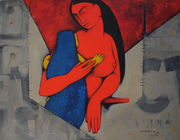 ''mother and child 5''  Acrylic on Canvas 28''x36''
