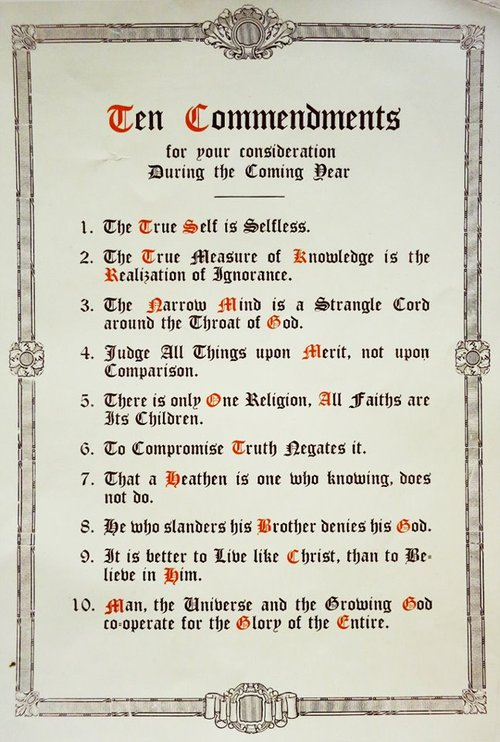 10-commendments of Manly Hall