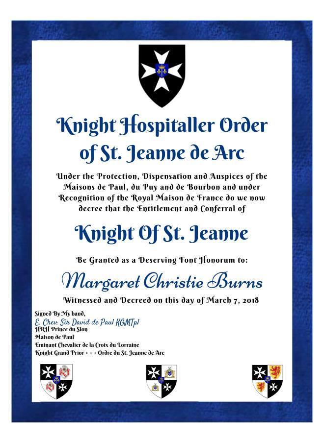 Knight Hopsitaller Order of St Jeanne De Arc Certificate