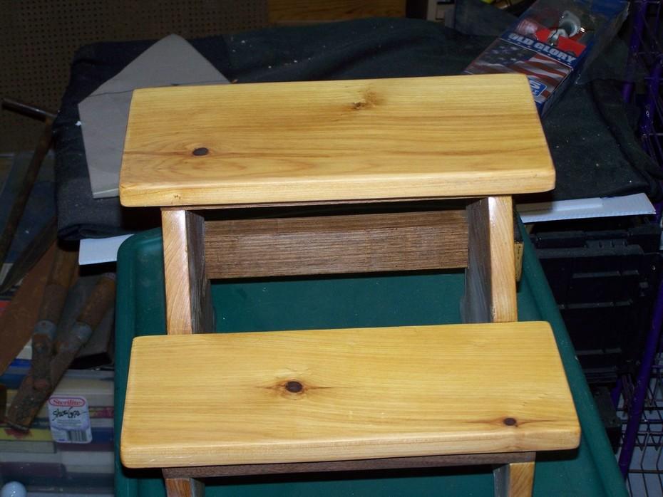 Cypress step stool for my Grand Nephew